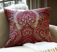 NWT-Pottery-Barn-Mira-Paisley-Pillow-Cover-24-x24-Red-Rust-Green-Khaki-NEW