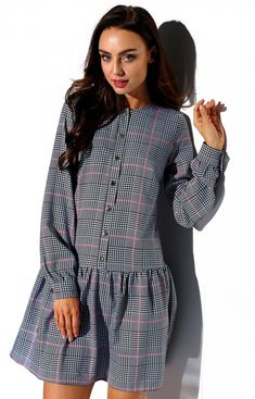 Lemoniade Koszulowa sukienka w kratę L311 Dresses With Sleeves, Rompers, Boho, Long Sleeve, Fashion, Moda, Gowns With Sleeves, Fashion Styles, Blanket Sleeper