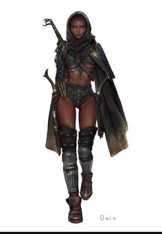 ArtStation - Youngmin Seo : Character Painting (Rogue) By. Monster Characters, Fantasy Characters, Female Characters, Character Inspiration, Character Art, Scantily Clad, Fantasy Armor, Afro Punk, Fantasy Women