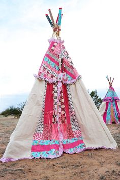 Pink grey original glam children's teepee by DollyandFrances, $250.00