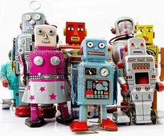 Grupo de juguete de robot retro  Foto de archivo
