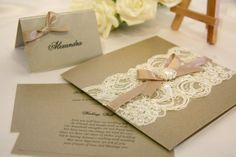 Lace And Pearls Wedding Theme | Vintage Lace Wedding Invitation Card (mink)- matching stationery ...