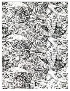 Free Coloring Page Numerous Snakes