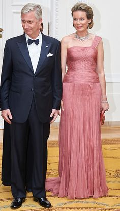 King Philippe of Belgium and Queen Mathilde of Belgium welcome guests during the official dinner at Presidential Palace as part of official Royal visit in Poland on October 13, 2015 in Warsaw, Poland