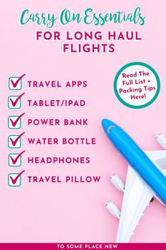 Carry on Essentials for Long Haul Flights Packing Tips – tosomeplacenew – travel outfit plane long flights Packing List For Travel, Packing Tips, Europe Packing, Traveling Europe, Backpacking Europe, Travelling Tips, Long Haul Flight Tips, Carry On Essentials, Travel Gifts