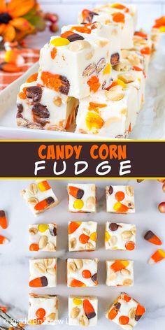 Candy Corn Fudge - an easy white chocolate fudge filled with a candy corn snack mix makes a delicious fall treat. Easy no bake recipe to make for Halloween parties.