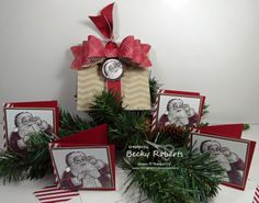 SUNDAY, OCTOBER 27, 2013 Inking Idaho: 12th Day of Christmas - Tutorial Now Available! | Santa's List Cards and Envelopes   3 x 3 mini cards in a darling paper bag with gift bow die - such a cute presentation!