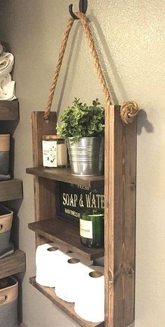 Cabin Furniture, Furniture Decor, Farmhouse Furniture, Diy Home Decor, Room Decor, Wood Home Decor, Rustic Ladder, Diy Casa, Rope Shelves