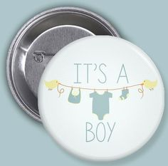 Its A Boy / Gender Announcement / Pinback Buttons by Bisforbuttons, $12.00