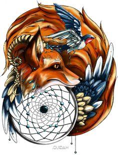 Fox and dreamcatcher tattoo