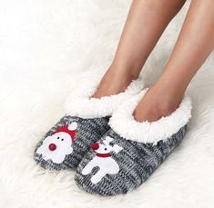 48aa79a6177a GIRLS and WOMEN FLUFFY FLEECE LINING SANTA AND RUDOLPH SLIPPERS FOR WINTER  GIFT  fashion