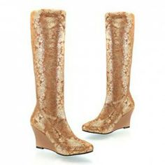 $26.04 Retro Style Women's Knee-High Boots With Floral Print and Wedge Heel Design