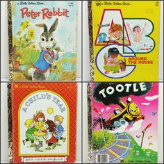 Vintage Little Golden Books Collection - Peter Rabbit, Tootle, A Child's Year, ABC Around the House  by naturegirl22 on Etsy