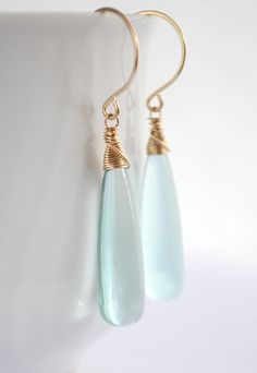 Long teal quartz earrings gold, long drop earrings, pale blue earrings, cyan earrings, gold drop earrings - Hiluhilu Elongated