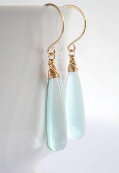 Long teal quartz earrings gold, long drop earrings, pale blue earrings, cyan earrings, gold drop earrings - Hiluhilu Elongated