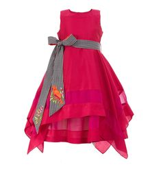 Best 12 Hanky Dress with Embroidered Belt-Fuchsia. Baby Girl Party Dresses, Toddler Girl Dresses, Little Girl Dresses, Girls Dresses, Toddler Girls, Baby Girls, Girls Frock Design, Kids Frocks Design, Baby Dress Design