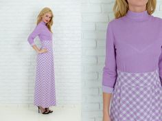 Vintage 70s Purple  White Mod Dress Gingham by thekissingtree