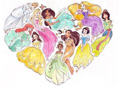 Walt Disney Princesses Cinderella, Ariel The Little Mermaid, Aurora Sleeping Beauty, Belle Beauty and the Beast, Jasmine Aladdin, Tiana Princess and the Frog, Pocahontas, Rapunzel Tangled, Snow White and the Seven Dwarfs, Mulan in Heart drawing.
