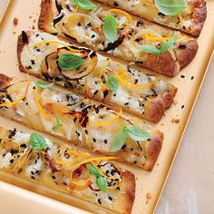 Our Best Party Appetizers: Cheesy Caramelized Onion Flatbreads