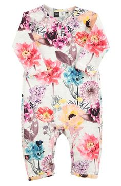 molo 'Fiona' Flower Print Romper (Baby Girls) available at #Nordstrom