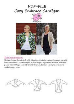 PDF-mønster/pattern: Cozy Embrace Cardigan woman size 34-54 (US 4-24)