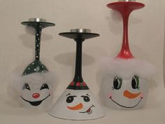 Snowmen Wine Glass Candle Holders Set of 3 by ButterflyKisCreation, $29.99
