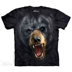 The Mountain Aggressive Nature:Black Bear T-Shirt Bear Face, 3d T Shirts, Bear T Shirt, Animal Faces, Tye Dye, Black Bear, Tshirts Online, Classic T Shirts, Graphic Tees