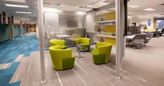 La-Z-Boy pilot space with Joel Lounge Chair from Coalesse and Duo shelving from Steelcase