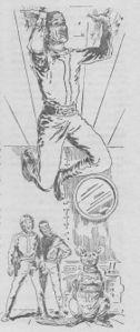 """Innenillustrationen """"Die Dritte Macht"""" – Perrypedia Bully hängt, von Gucky dorthin gebracht, wieder mal an der Decke PR37– Illustration5 Zeichner:Johnny Bruck © Pabel-Moewig Verlag KG, Rastatt"""