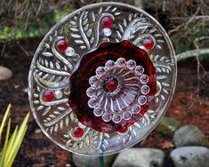 "Sun Catcher Glass Flower - Garden Art - layered clear/colored glass tray, plate, bowl, vase, votive holder, etc. - on metal stake ""stem"" ..."