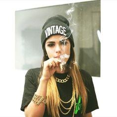 girl swag, cap,shirt , wee, hair, girl, necklace,cigarette,smoke,smoking