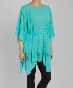 Loving this Turquoise Cutout Cape-Sleeve Tunic - Plus on #zulily! #zulilyfinds