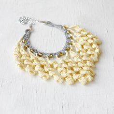 Fringe bib necklace in light yellow and by 100crochetnecklaces