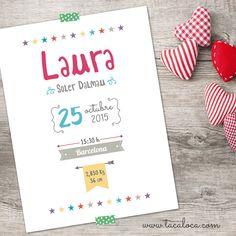 Lámina de 30x40 cm. con los datos de nacimiento del niño/a. Un bonito regalo pernonalizado para sorprender a los nuevos papás. Precio: 15€. http://www.tacaloca.com/#!product/prd14/4284368365/ref.-130