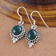 MALACHITE 925 SOLID STERLING SILVER EXCLUSIVE EARRING 5.04g DJER1564 #Handmade #EARRING
