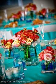 tiffany blue runners with coral centrepieces - Google Search
