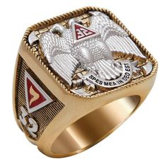 Scotish Rite 32 Degree Masonic Ring White and Yellow Gold Plated 40 Grams Double Eagle Ring Unique Handcrafted Highly Collectible Knights Templar Ring, Freemason Ring, Masonic Jewelry, Masonic Symbols, Masonic Signs, Double Headed Eagle, Eagle Ring, Freemasonry, Unique Rings