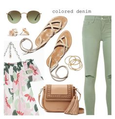 """""""Spring Trend: Colored Denim"""" by dressedbyrose ❤ liked on Polyvore featuring Joe's Jeans, Max&Co., Kate Spade, Ray-Ban, ABS by Allen Schwartz, coloredjeans and polyvoreeditorial"""