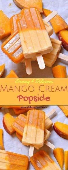 Mango Popsicle,Creamy Mango Pop,Mango Cream Pop,Popsicle,Fruit Popsicle,Cream Popsicle,Eggfree,Eggless,savory bites recipes