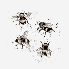 tattoos Little bumble bees ! Bumble Bee Tattoo, Honey Bee Tattoo, Body Art Tattoos, Small Tattoos, Tatoos, Skull Tatto, Bee Sketch, Petit Tattoo, Bee Painting