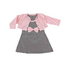 Hudson Baby Girl 2 Piece Pink/Black Cropped Cardigan with Racerback Dress