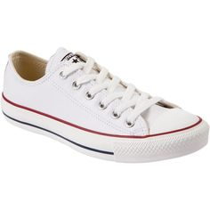 Converse Chuck Taylor All Star Low Top Leather Trainers , White (€56) ❤ liked on Polyvore featuring shoes, sneakers, converse, sapatos, white, flat shoes, converse sneakers, canvas sneakers, white lace up sneakers and white leather sneakers
