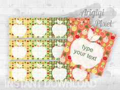 Type Your Text #Lunch_Box #Notes, #editable square #label with #apples, #school labels, #printable note cards #download http://etsy.me/2CuQNYy #supplies #orange #backtoschool #easter #cardmakingstationery  #green #schoollabels #printablenotecards