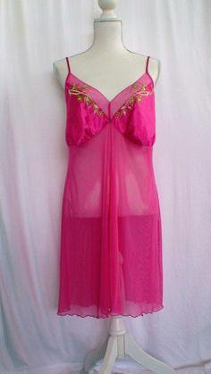 Cacique Sexy Sensual Tropical Pink Nightgown Size 18 /20 #Cacique #Sexy