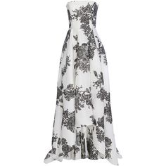 Monique Lhuillier Rose Print Strapless Gown ($4,995) ❤ liked on Polyvore featuring dresses, gowns, long dress, white asymmetrical dresses, long dresses, white evening dresses, white floor length dress and white dresses