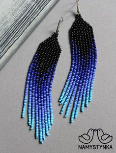 Blue beaded earrings Seed bead earrings Long earrings Native earrings Blue chandelier earring Boho e Blaue Perlenohrringe Samenperlenohrringe Lange Ohrringe Eingeborener Beaded Earrings Native, Beaded Earrings Patterns, Fringe Earrings, Beading Patterns, Bracelet Patterns, Native Beadwork, Seed Bead Jewelry, Seed Bead Earrings, Diy Earrings