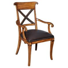 Check out this item at One Kings Lane! Ringo Leather X-Back Armchair, Espresso