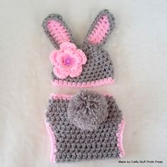 Bunny hat and Diaper cover set, (choose colours) 0-3 months. Clip on flower