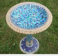 Picture of Alhambra Sky Handcrafted Mosaic Birdbath Mosaic Birdbath, Mosaic Garden Art, Mosaic Vase, Mosaic Flower Pots, Pebble Mosaic, Mirror Mosaic, Mosaic Diy, Mosaic Tables, Mosaic Ideas