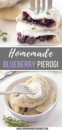 Blueberry Pierogi with Lemon Thyme Try my easy recipe for the best homemade sweet Polish blueberry pierogi filled with frozen blueberries and fresh thyme leaves! These authentic Polish sweet dumplings can be prepared ahead of time and frozen. Polish Dumplings, Polish Pierogi, Polish Desserts, Easy Polish Recipes, Easy Recipes, Breakfast Recipes, Dessert Recipes, Recipes Dinner, Brunch Recipes